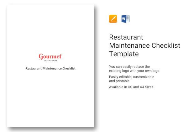 restaurant-maintenance-checklist-template