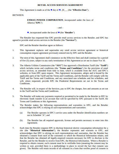 retail access services agreement template
