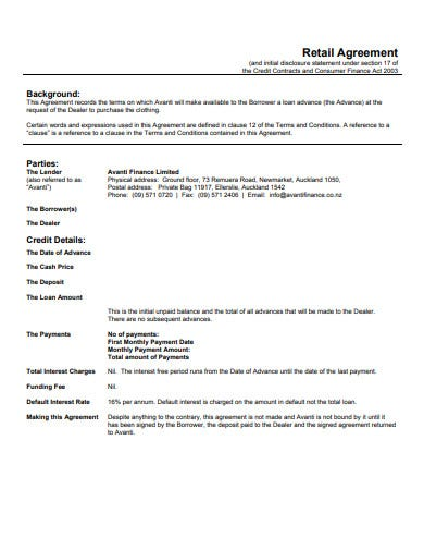retail agreement template