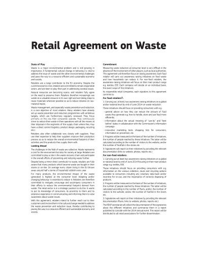 retail agreement on waste