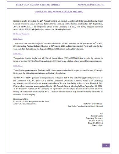 retail annual meeting notice