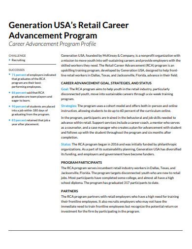 retail career advancement training program