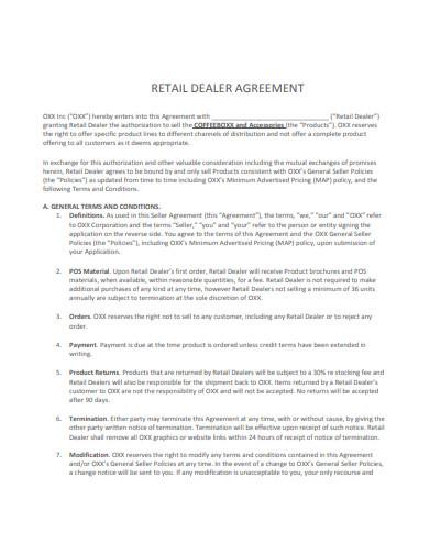 retail dealer agreement template