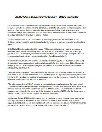 retail excellence budget template