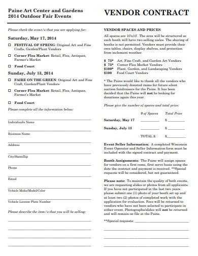 retail fair events vendor contract