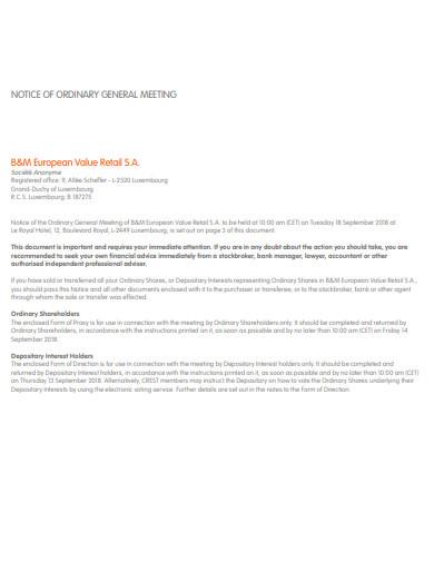 retail general meeting notice