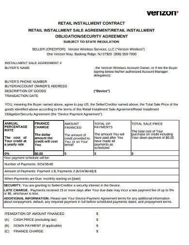 retail installment agreement contract