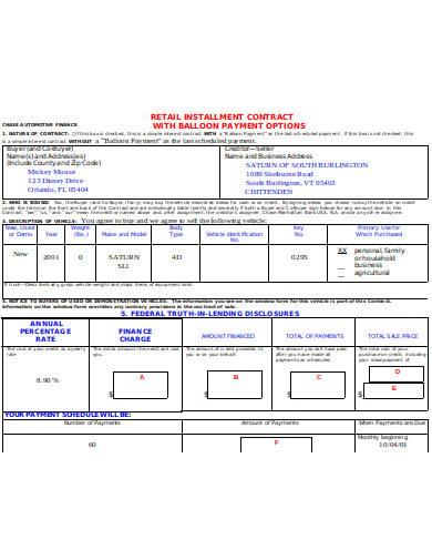 retail installment contract format
