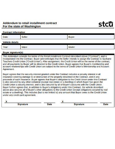 retail installment information contract
