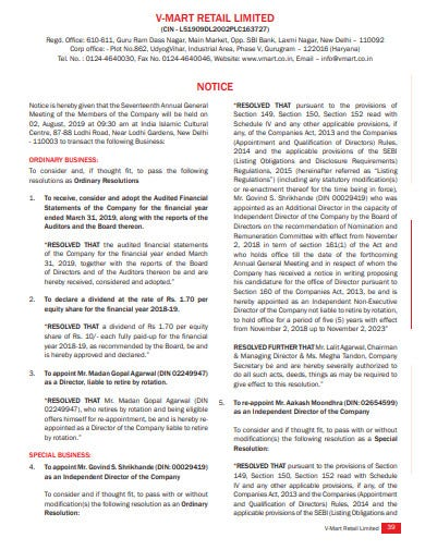 retail limited notice sample