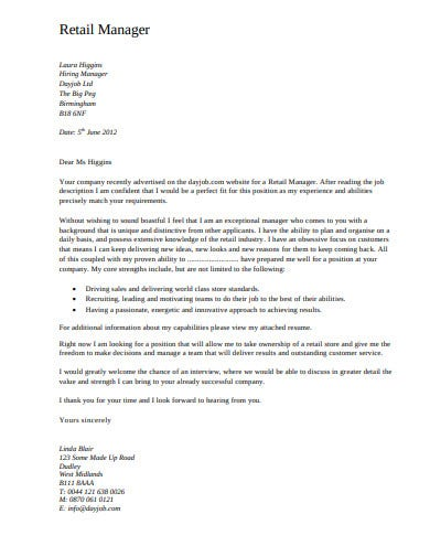 retail manager day job cover letter