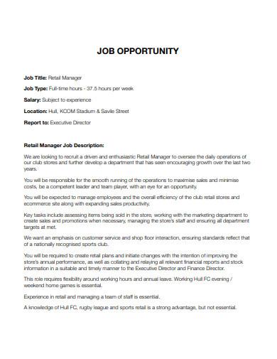 retail manager job description cover letter