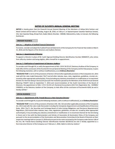 retail meeting notice