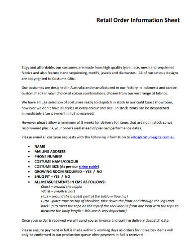 retail order information sheet