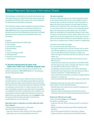 retail order payment sheet