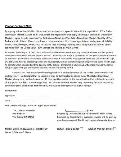 retail popup seller vendor contract