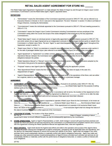 retail sales agent agreement template