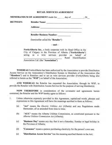 retail service agreement template