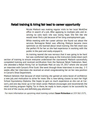 retail training and hiring program
