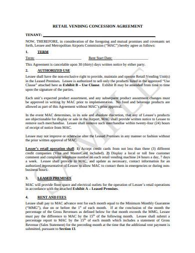 retail vending concession agreement template