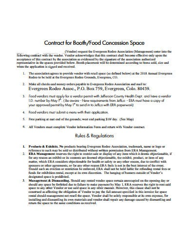 retail vendor contract for booth