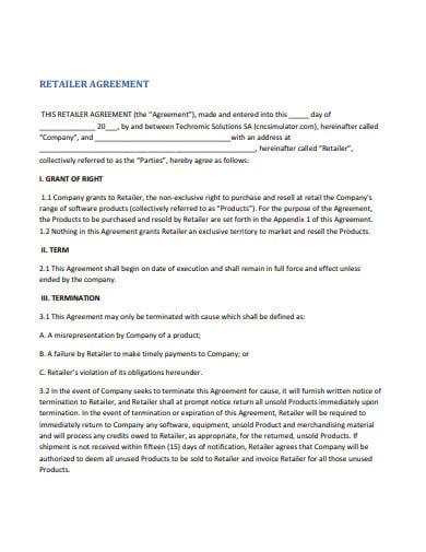 retailer agreement template