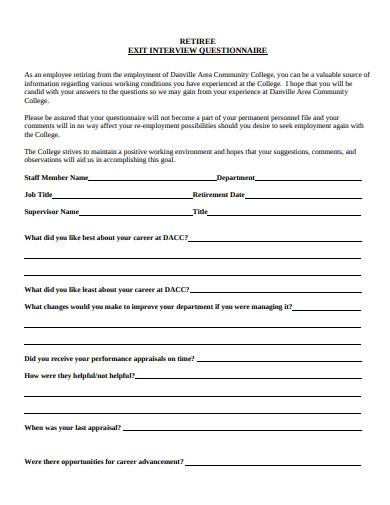 retiree exit interview questionnaire