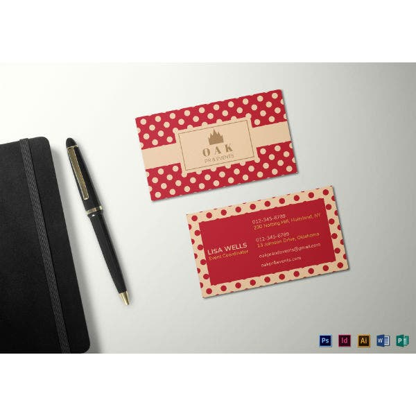 retro with polka dots business card template