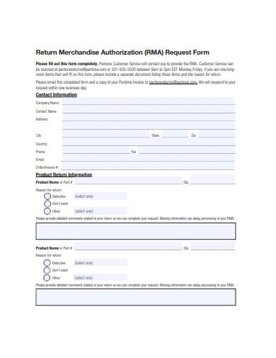 return merchandise authorization form example
