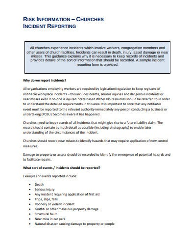 risk information church incident report template