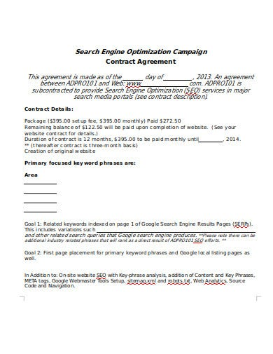 seo contract agreement format template