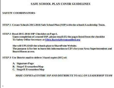 safe school plan template