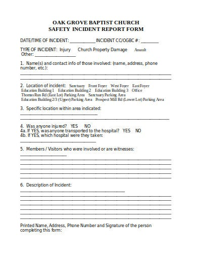safety incident report form