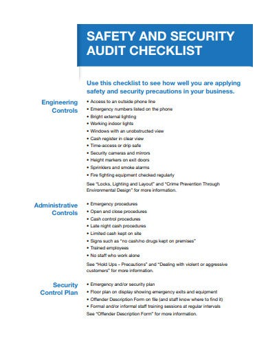 safety and security audit checklist example