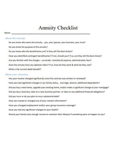 sample annuity checklist template