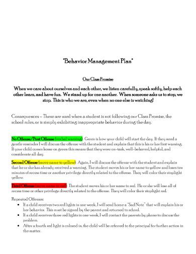 sample behavior management plan template