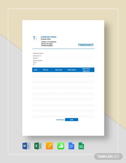 sample blank timesheet template