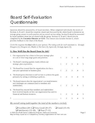 sample board self evaluation questionnaire