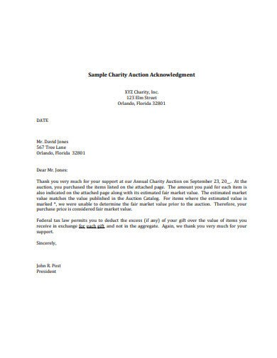 sample charity acknowledgement letter
