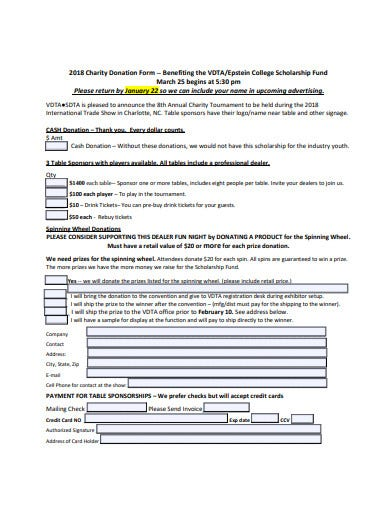 sample charity donation form template