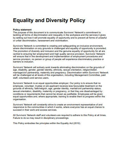 sample charity equality and diversity policy