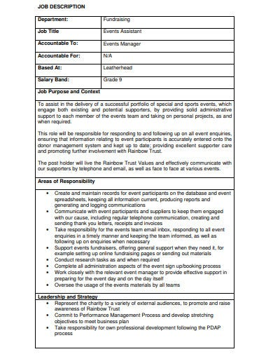 sample charity job description