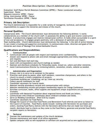 sample church administrator job description template