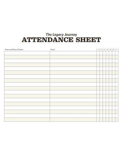sample church attendance sheet
