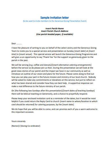 10 Church Invitation Letter Templates In Doc Pdf Free
