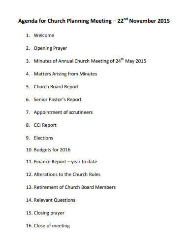 sample church meeting planning agenda