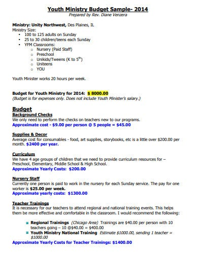 sample church youth budget template