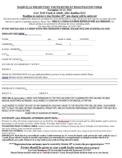 sample church youth camp registration form template