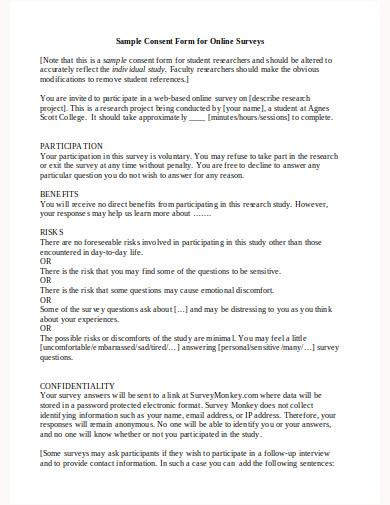 sample consent form for online surveys template