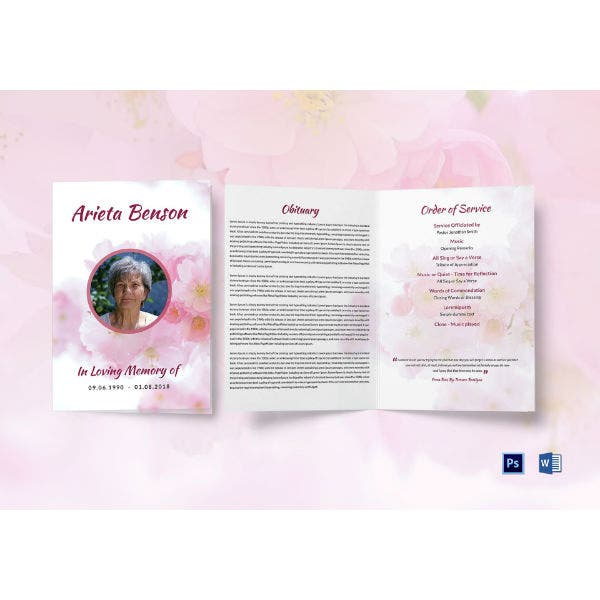 sample cremation funeral service bi fold brochure template